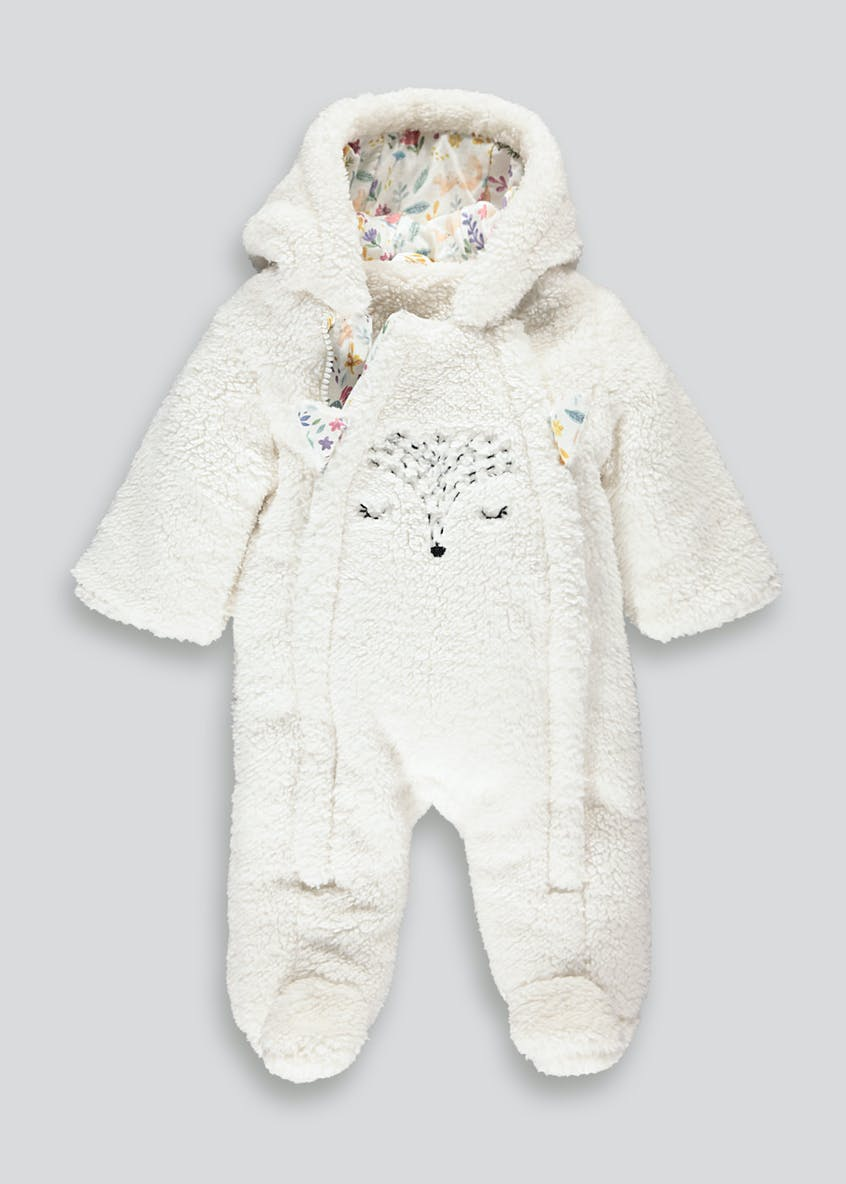Unisex Cream Fox Borg Snowsuit (Tiny Baby-18mths)