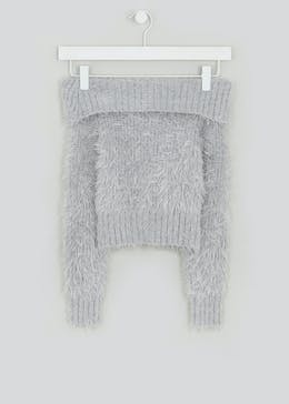 Girls Candy Couture Fluffy Bardot Jumper (9-16yrs)