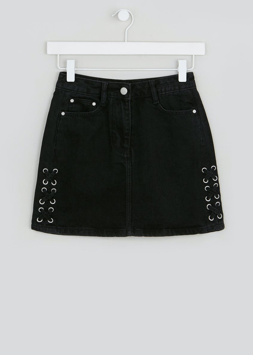 Girls Candy Couture Lace Up Denim Skirt (9-16yrs)