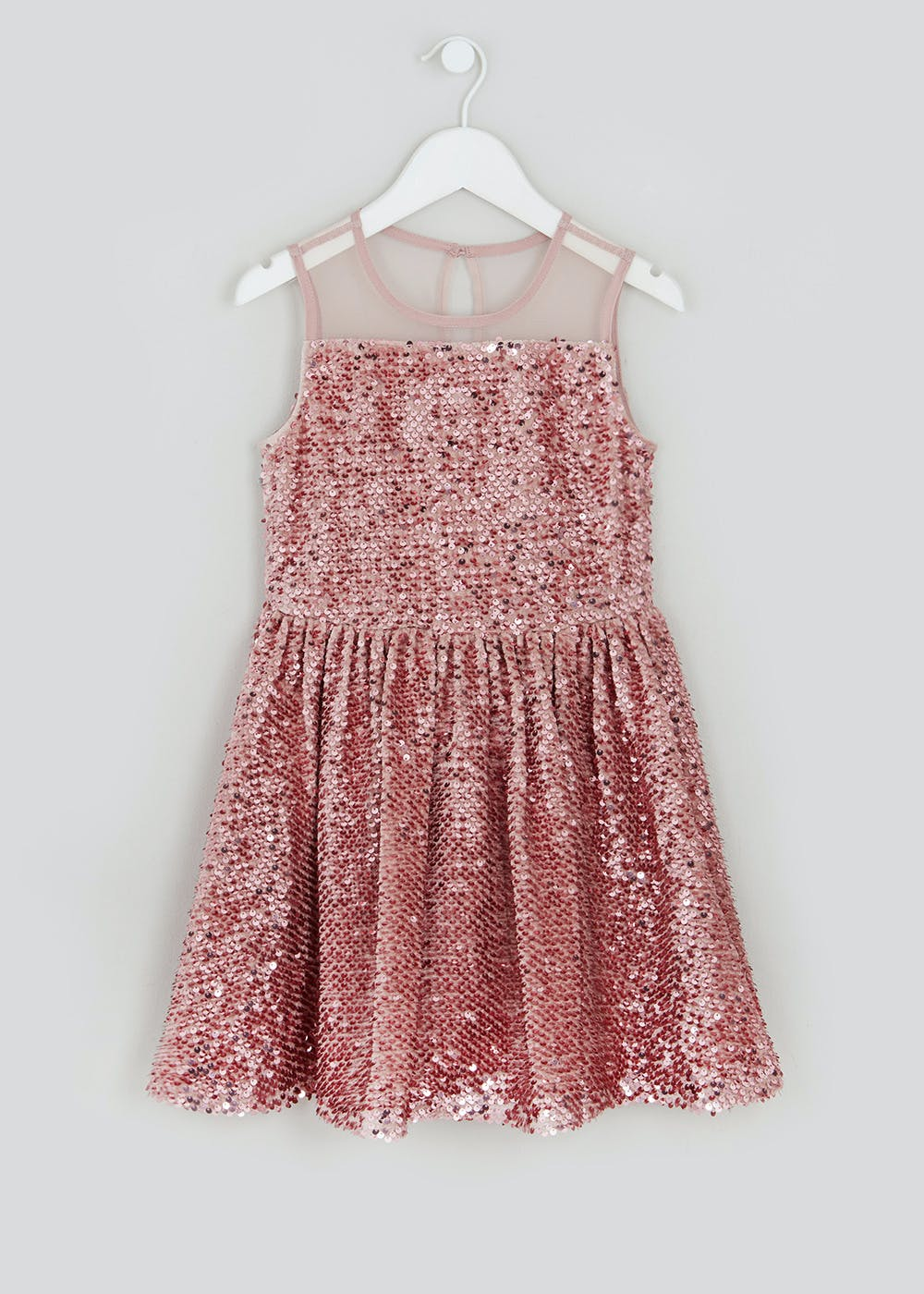 look out for free delivery speical offer Girls Pink Sequin Sleeveless Dress (4-13yrs) – Pink – Matalan