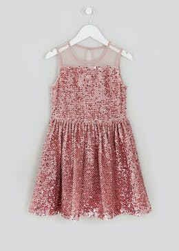 Girls Pink Sequin Sleeveless Dress (4-13yrs)