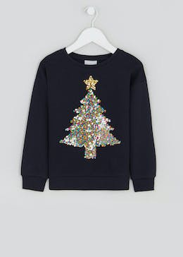 Girls Sequin Christmas Tree Sweatshirt (4-13yrs)