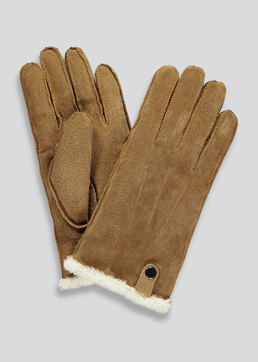 Shearling Lined Suede Gloves