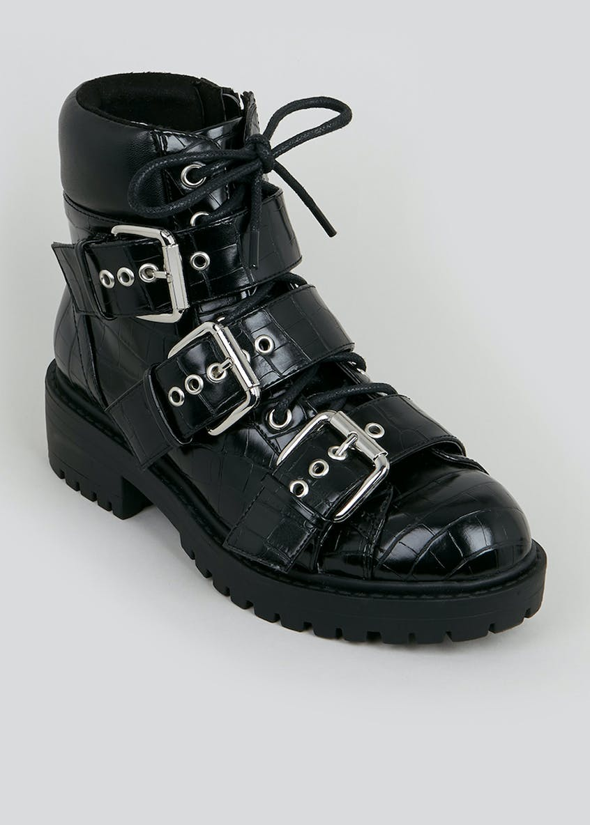 Black Heavy Buckle Boots