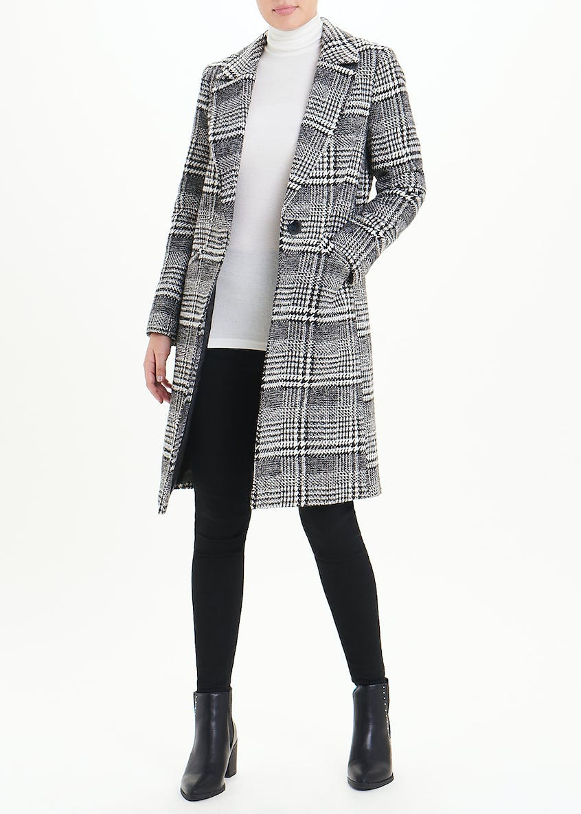 Black Check Single Breasted Coat