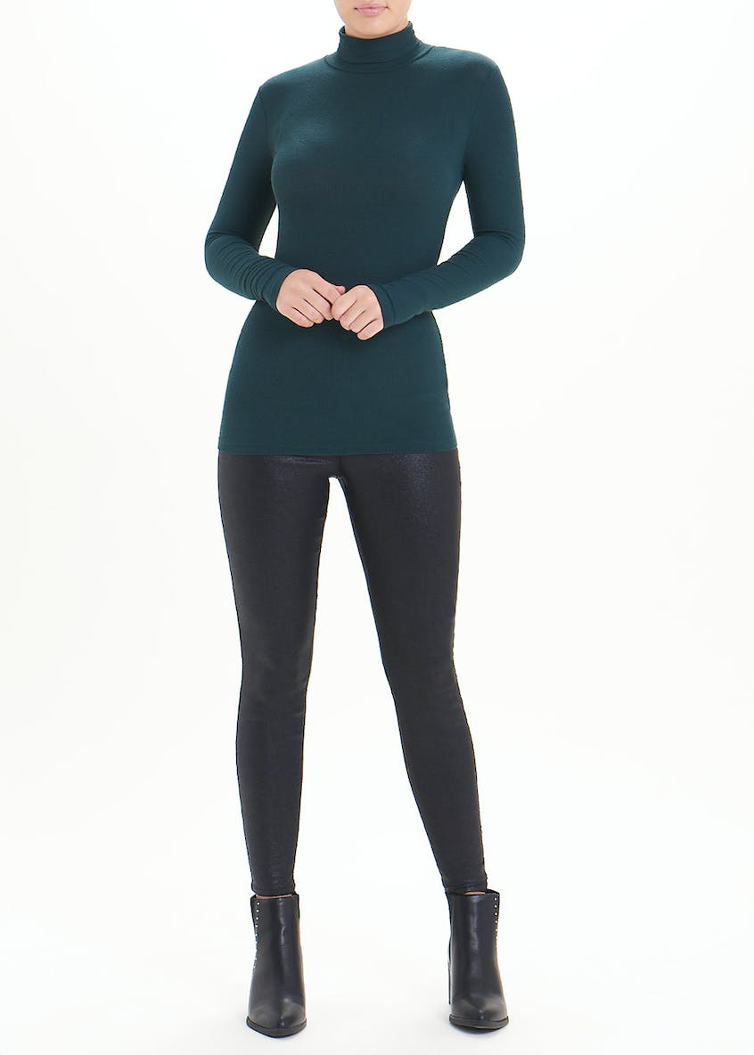 Long Sleeve Ribbed Roll Neck Top