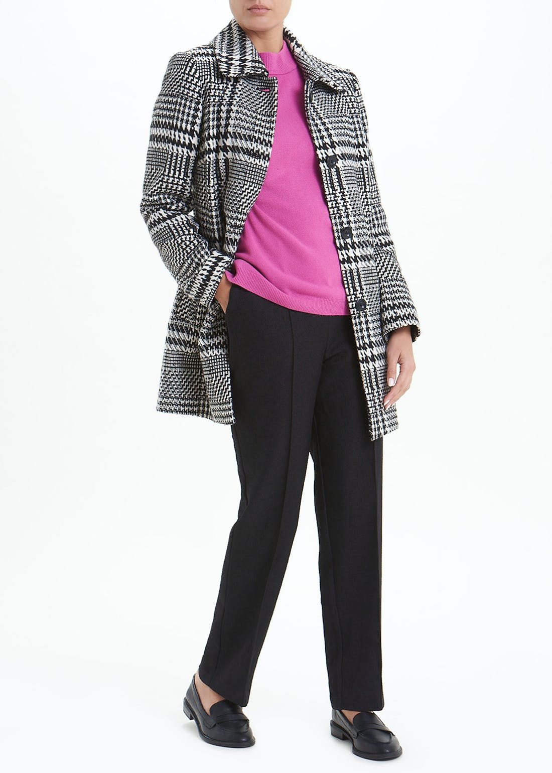 Black Dogtooth Check Dolly Coat
