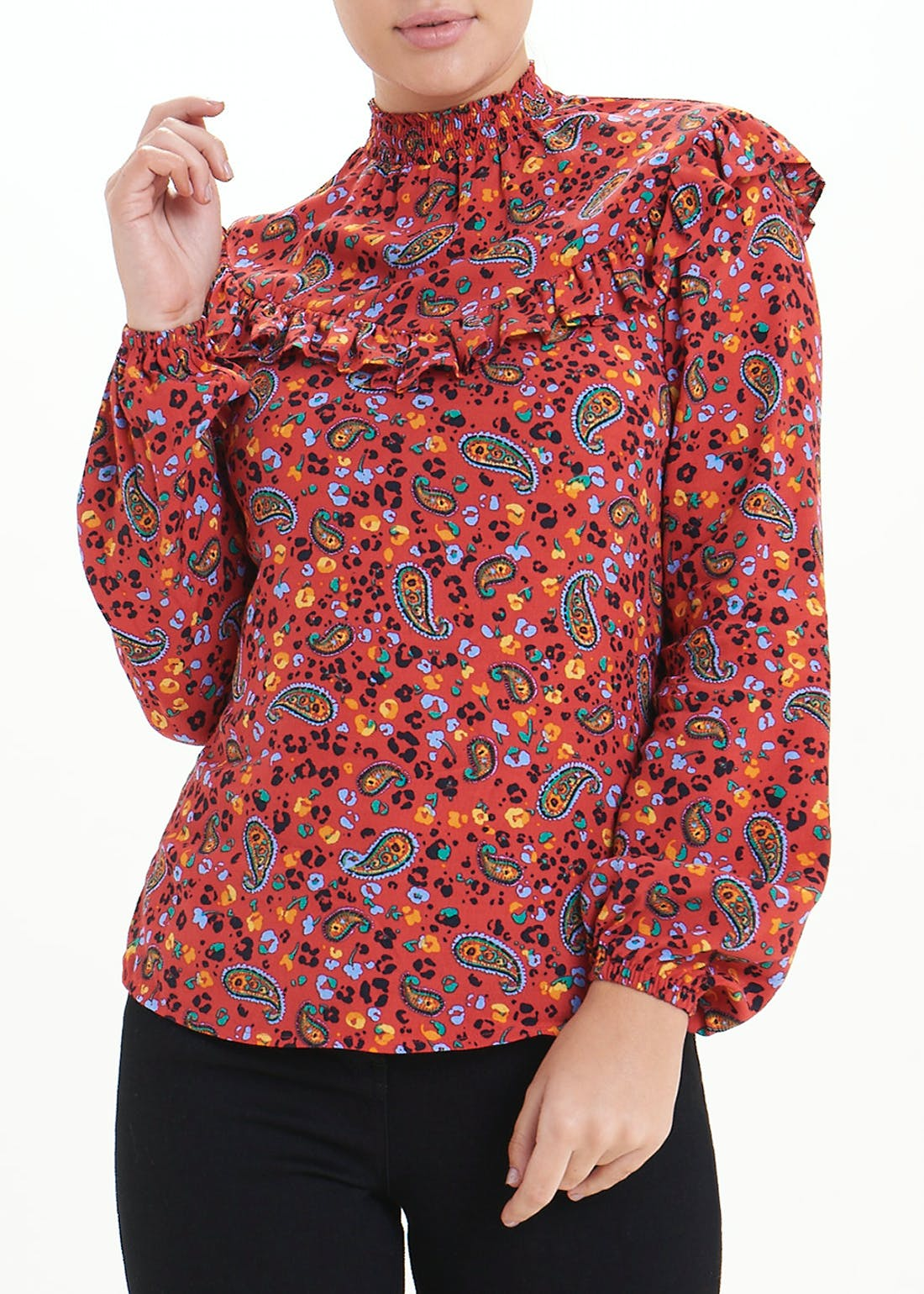 Red Long Sleeve Paisley Frill Blouse