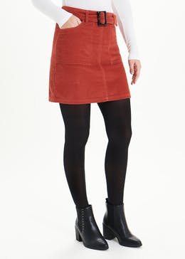 Belted Cord A-Line Skirt