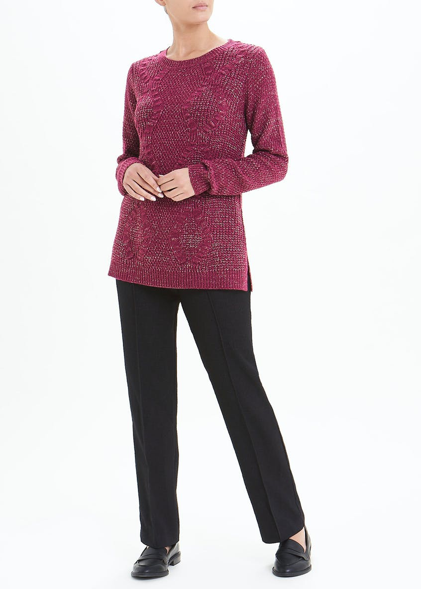 Lurex Longline Cable Knit Jumper