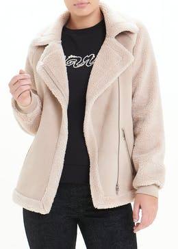 Shearling Biker Coat