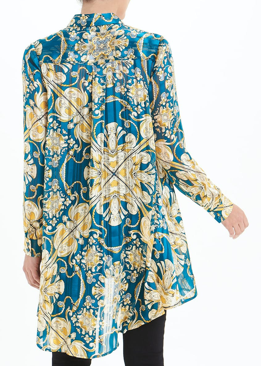 Soon Blue Long Sleeve Scarf Print Longline Shirt
