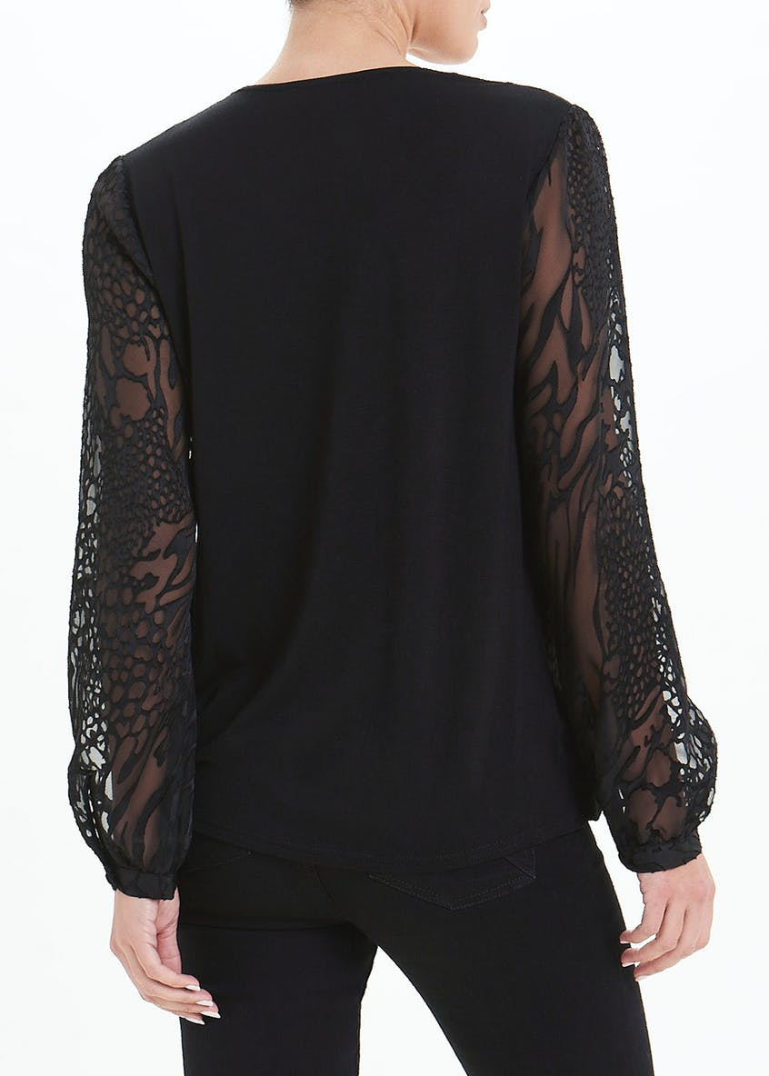 Soon Black Long Sleeve Burnout Wrap Blouse