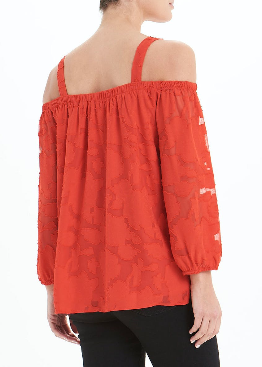 Soon Red Long Sleeve Bardot Burnout Top