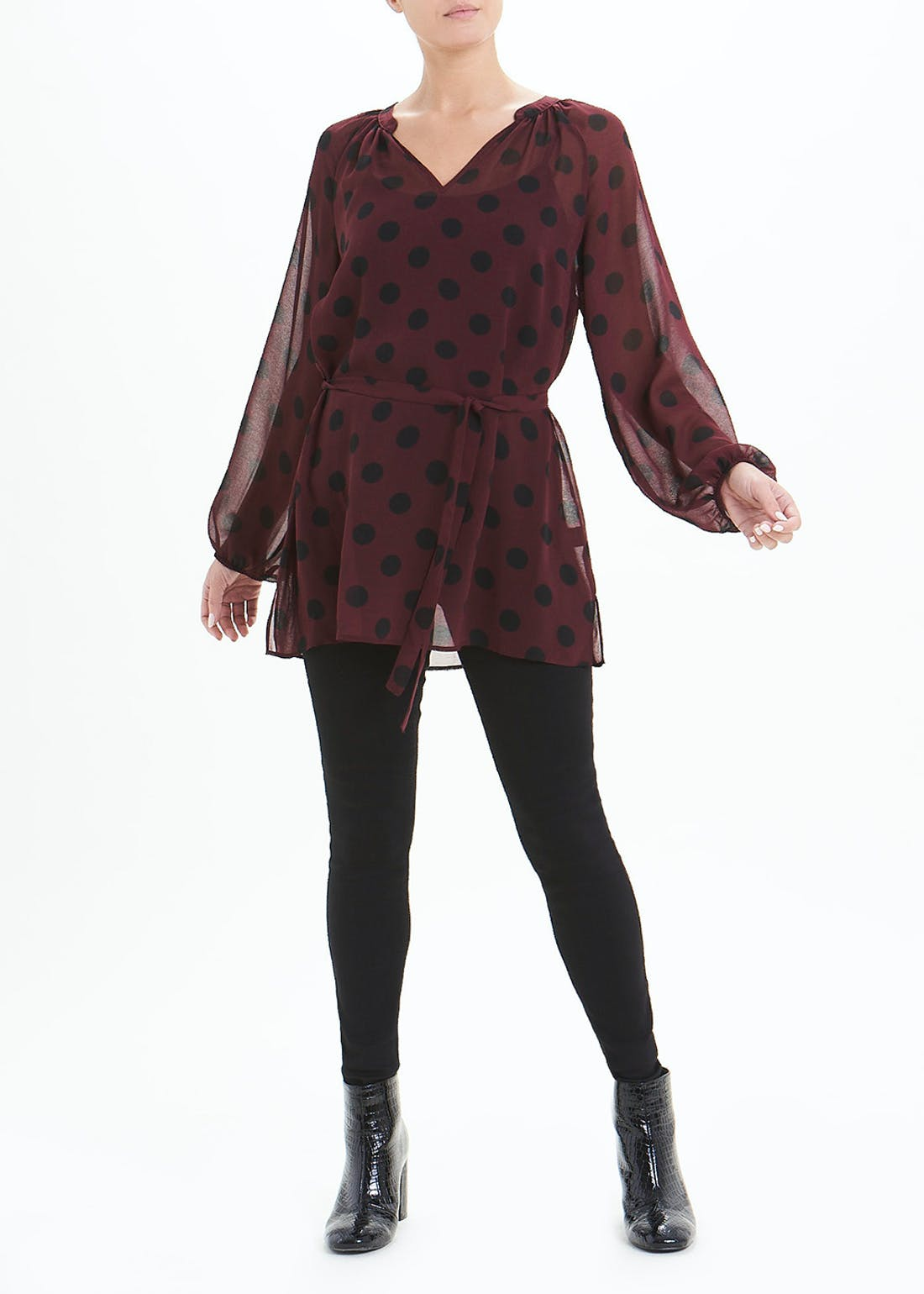 Soon Burgundy Long Sleeve Polka Dot Tunic Blouse