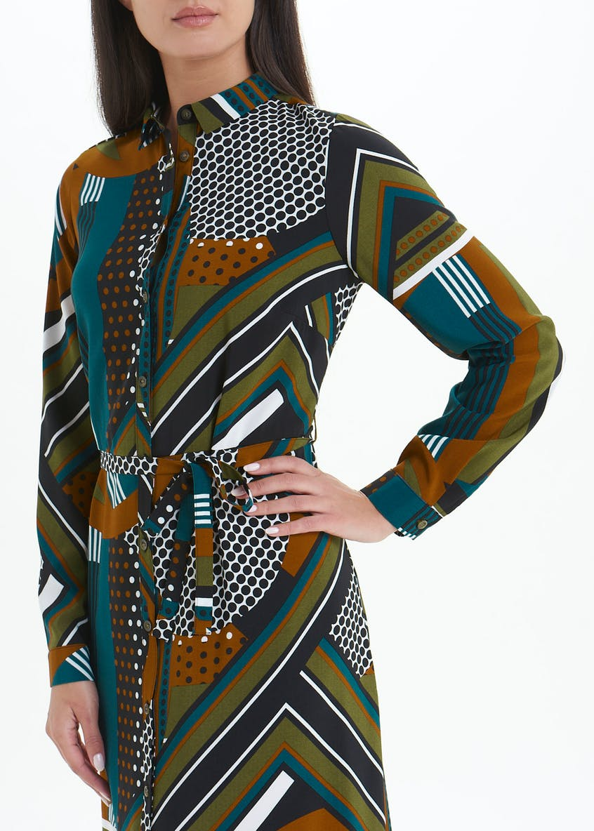 Long Sleeve Printed Midi Shirt Dress