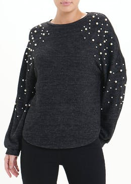 Long Sleeve Pearl Detail Top