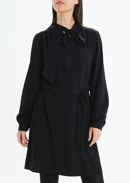 Black Long Sleeve Pussybow Dress