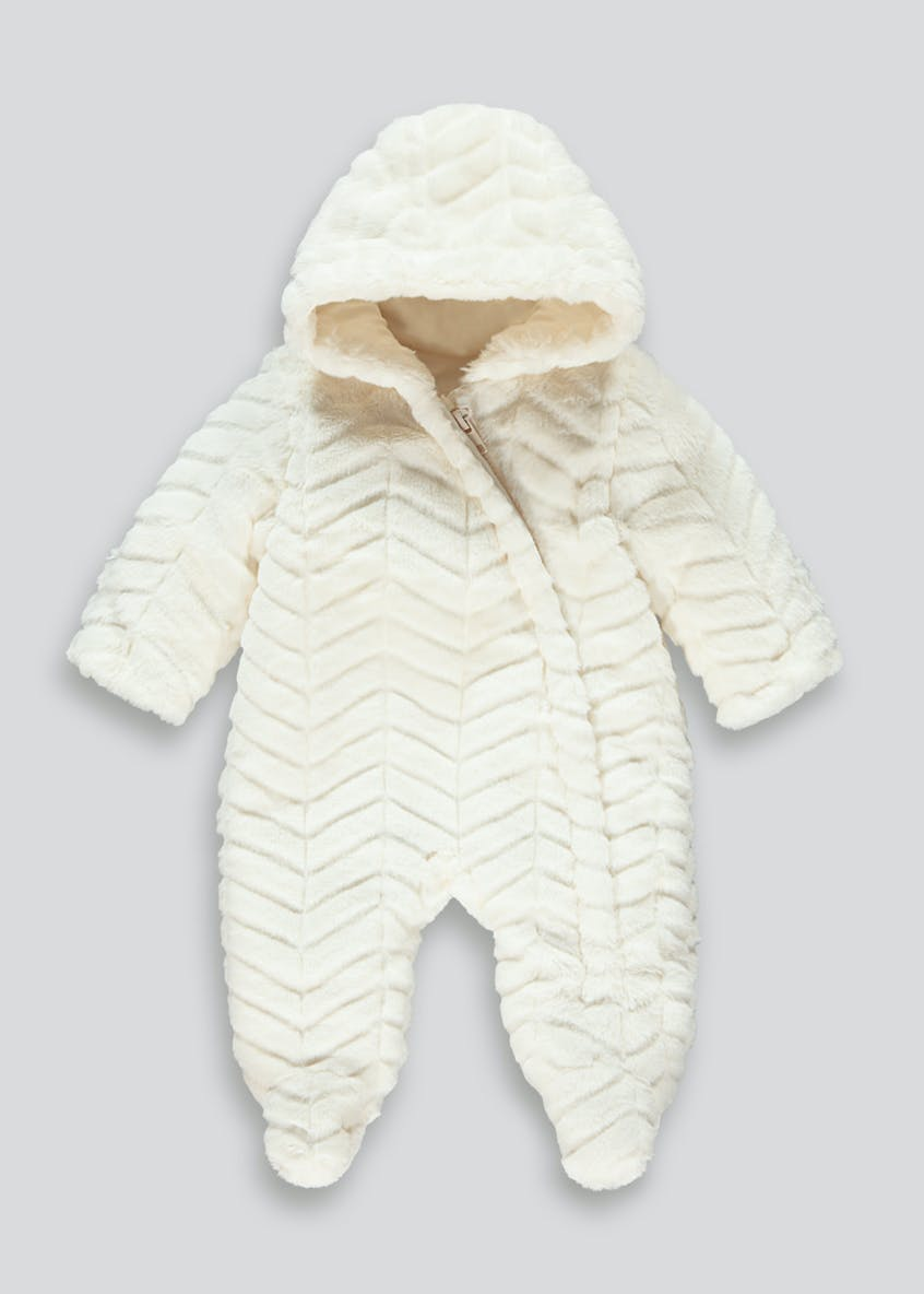 Unisex Cream Faux Fur Snowsuit (Tiny Baby-18mths)