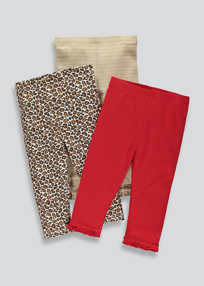 Girls 3 Pack Animal Print Leggings (9mths - 6yrs)