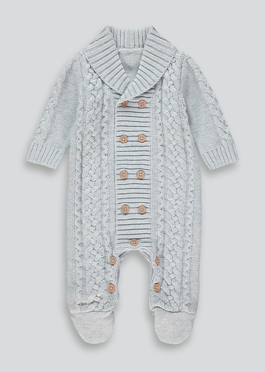 Unisex Button Knit Romper (Tiny Baby-18mths)