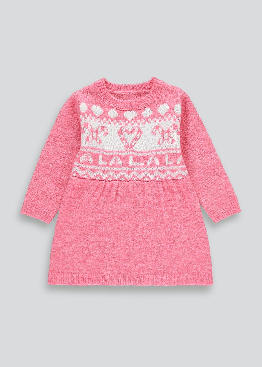 Girls Pink Fa La La Long Sleeve Christmas Dress (9mths-6yrs)