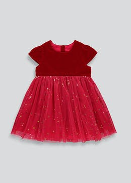 Girls Red Velvet Short Sleeve Dress (9mths-6yrs)