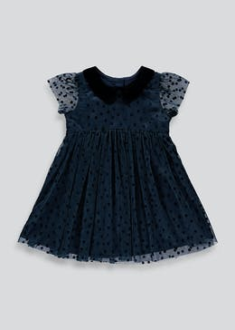 Girls Navy Short Sleeve Party Dress (9mths-6yrs)