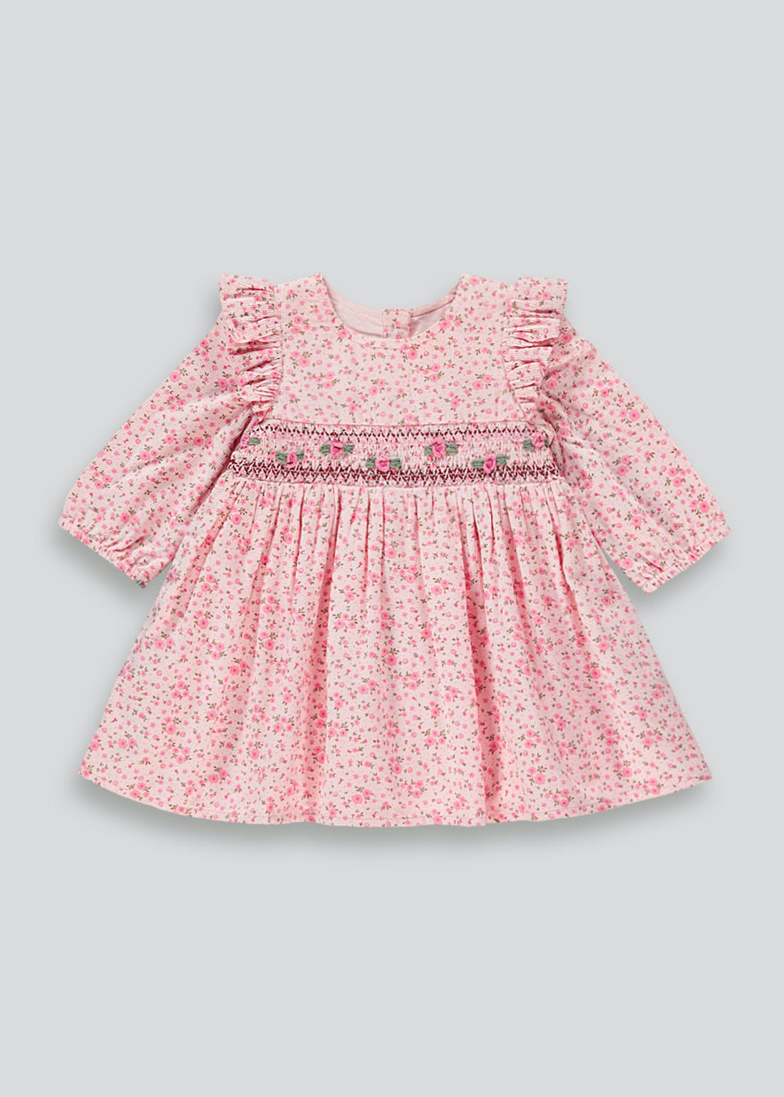 Girls Pink Floral Long Sleeve Dress (Tiny Baby-18mths)