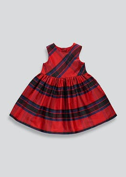 Girls Red Check Sleeveless Dress (9mths-6yrs)