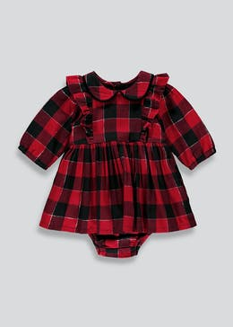 Girls Red Check Dress And Knickers (Tiny Baby-18mths)