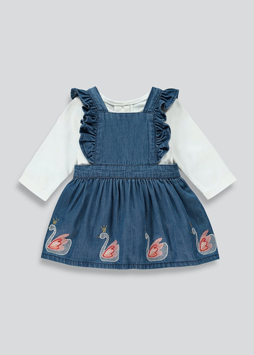 Girls Denim Pinafore Dress & Top Set (Newborn-18mths)