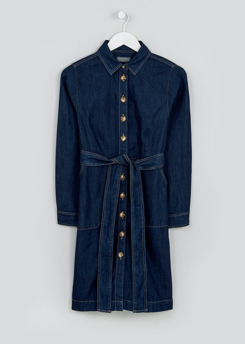 Papaya Petite Dark Wash Long Sleeve Denim Shirt Dress