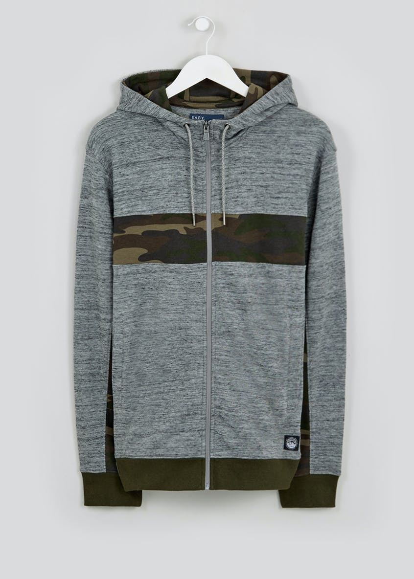 Camo Panel Zip Through Hoodie