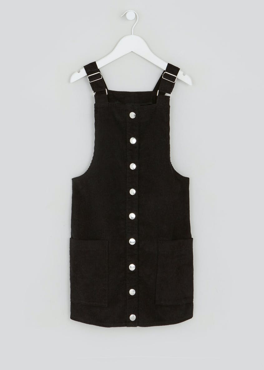 Girls Candy Couture Black Cord Pinafore Dress (9-16yrs)