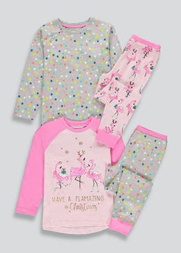 Kids 2 Pack Flamingo Christmas Pyjamas (4-13yrs)