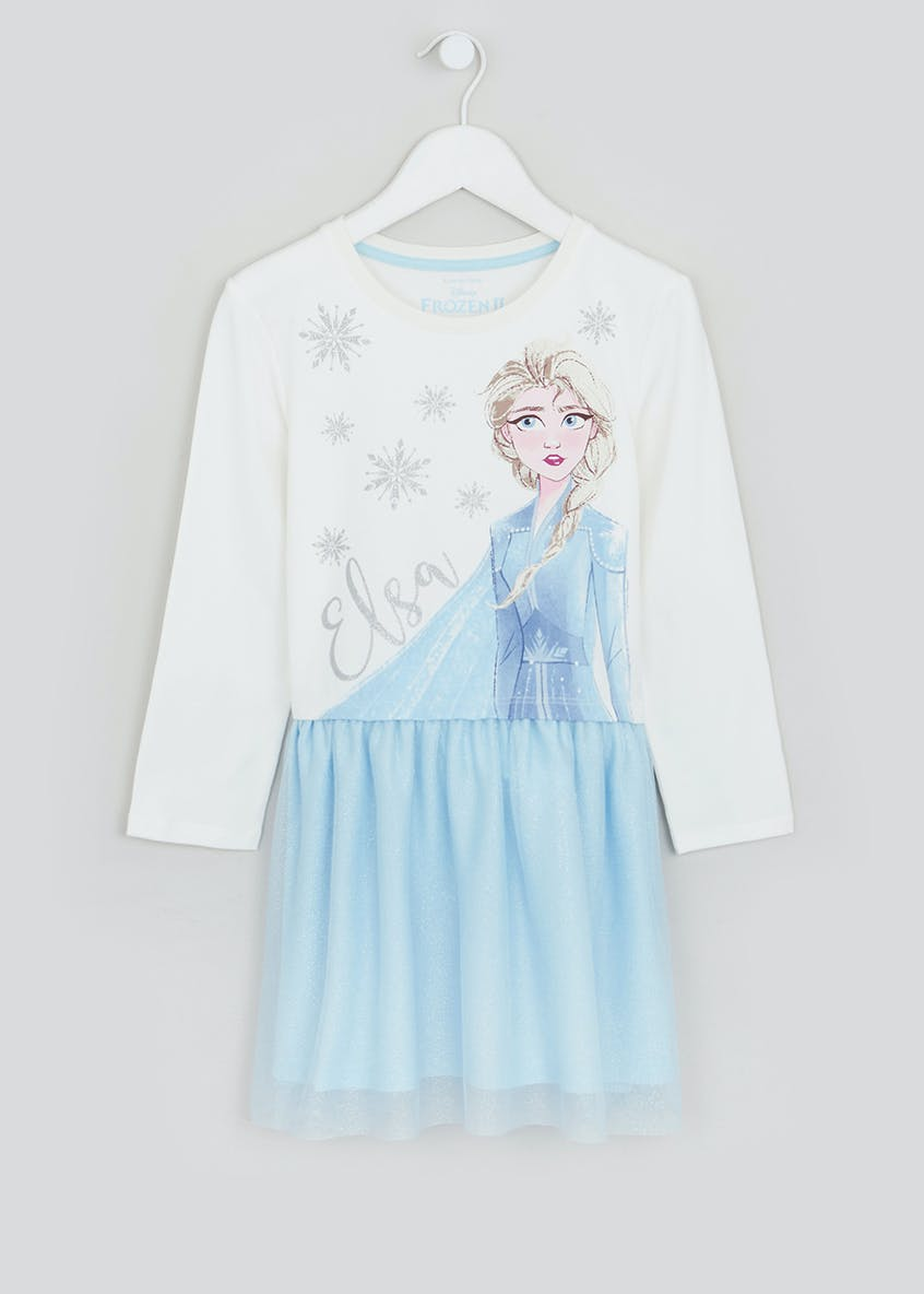 Girls Disney Frozen 2 Elsa Glitter Mesh Dress (2-9yrs)