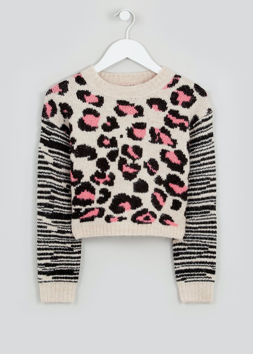 Girls Candy Couture Leopard Print Jumper (9-16yrs)