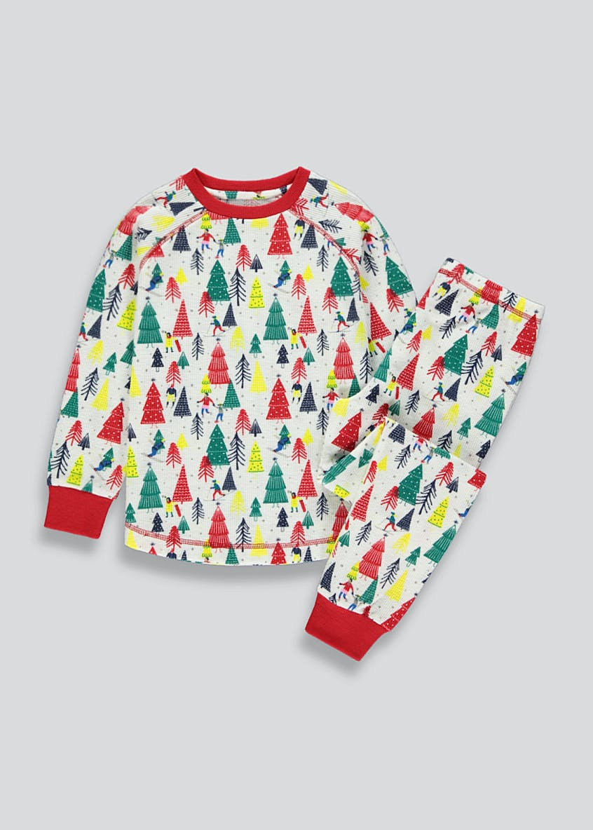 Girls Christmas Tree Pyjama Set (2-13yrs)