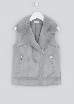 Girls Grey Faux Suede Biker Gilet (4-13yrs)