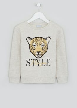 Girls Leopard Slogan Sweatshirt (4-13yrs)