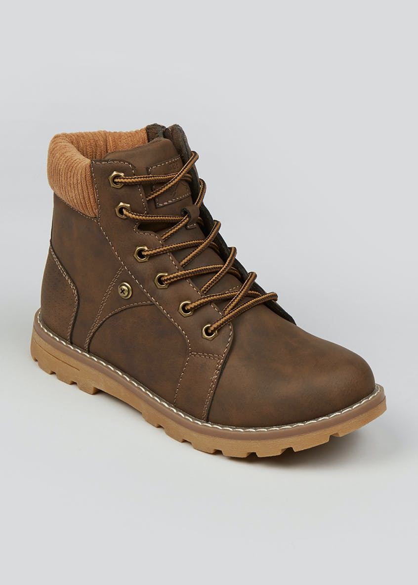 Boys Brown Lace Up Hiker Boots (Younger 10-Older 6)