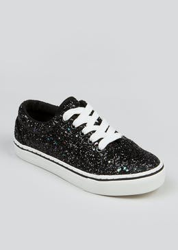 Girls Black Glitter Lace Up Trainers (Younger 10-Older 5)