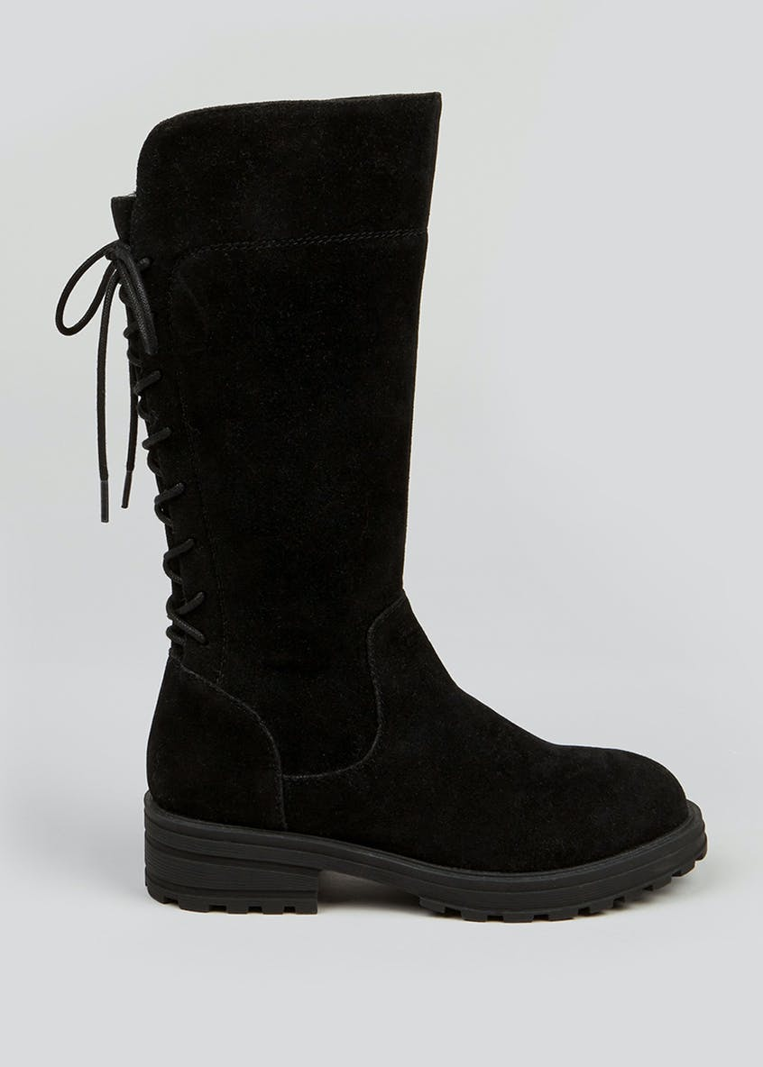Girls Black Lace Up Knee Boots (Younger 10-Older 5)