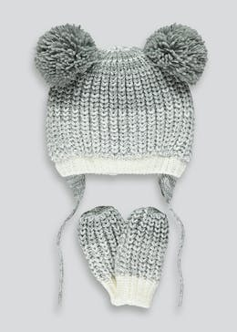 Unisex Knitted Hat & Mittens Set (Newborn-24mths)