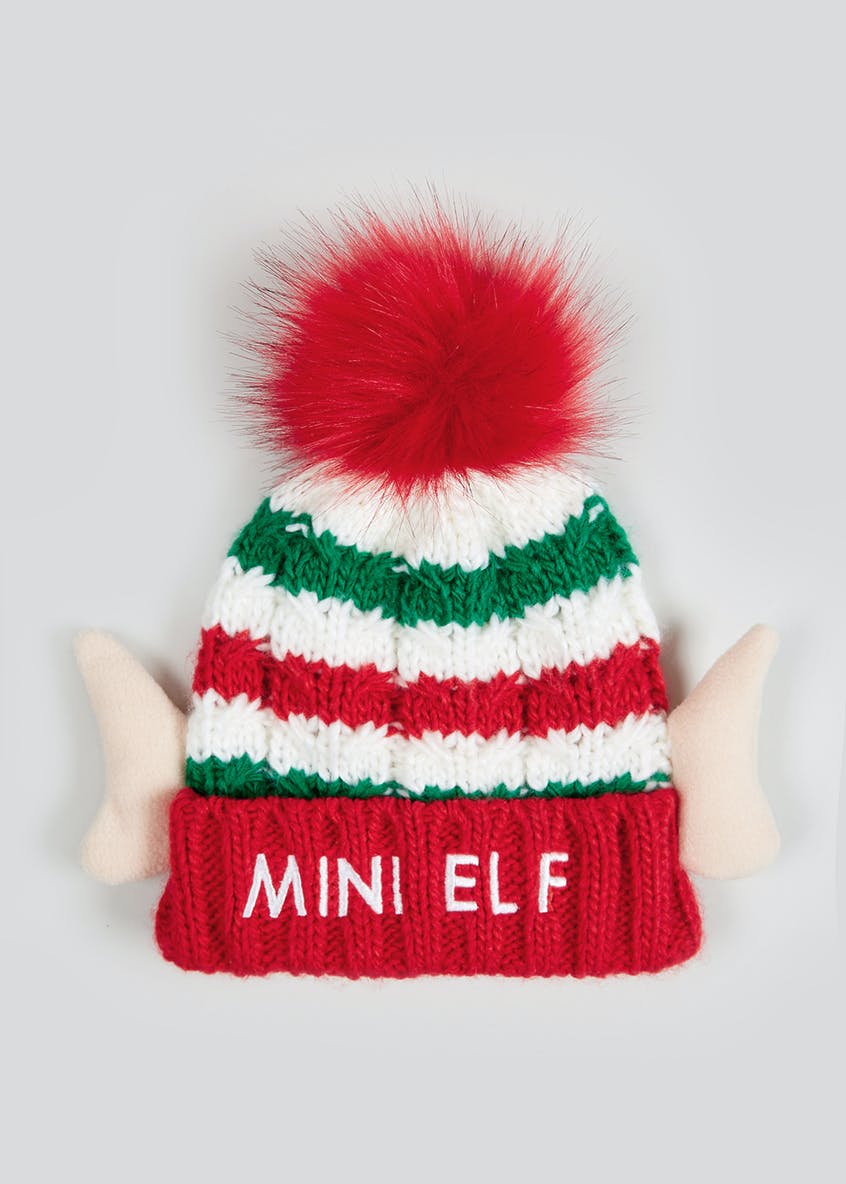Kids Mini Elf Christmas Bobble Hat (3-6yrs)