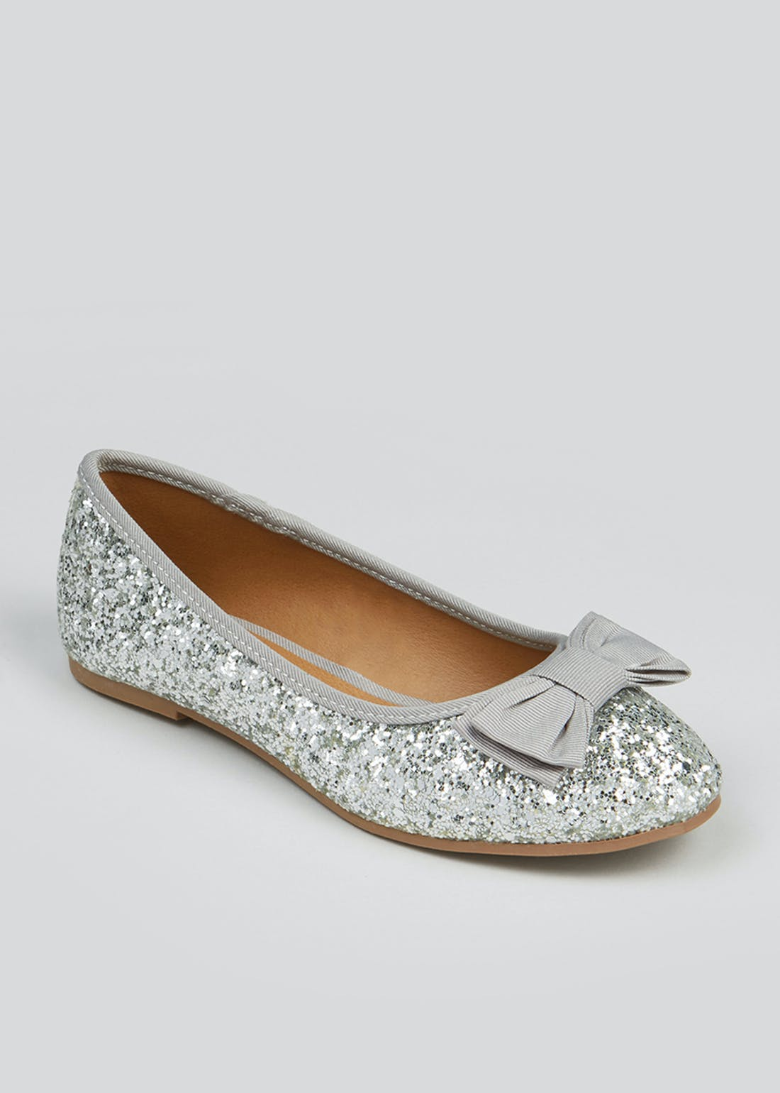 Girls Silver Glitter Bow Ballet Shoes (Younger 10-Older 5)