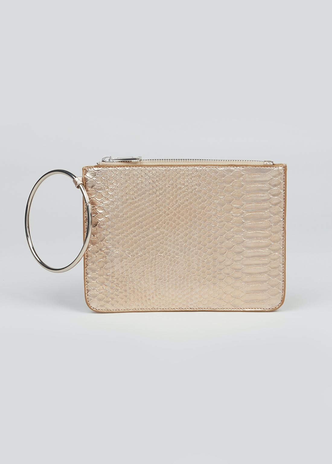 Ring Handle Metallic Clutch Bag