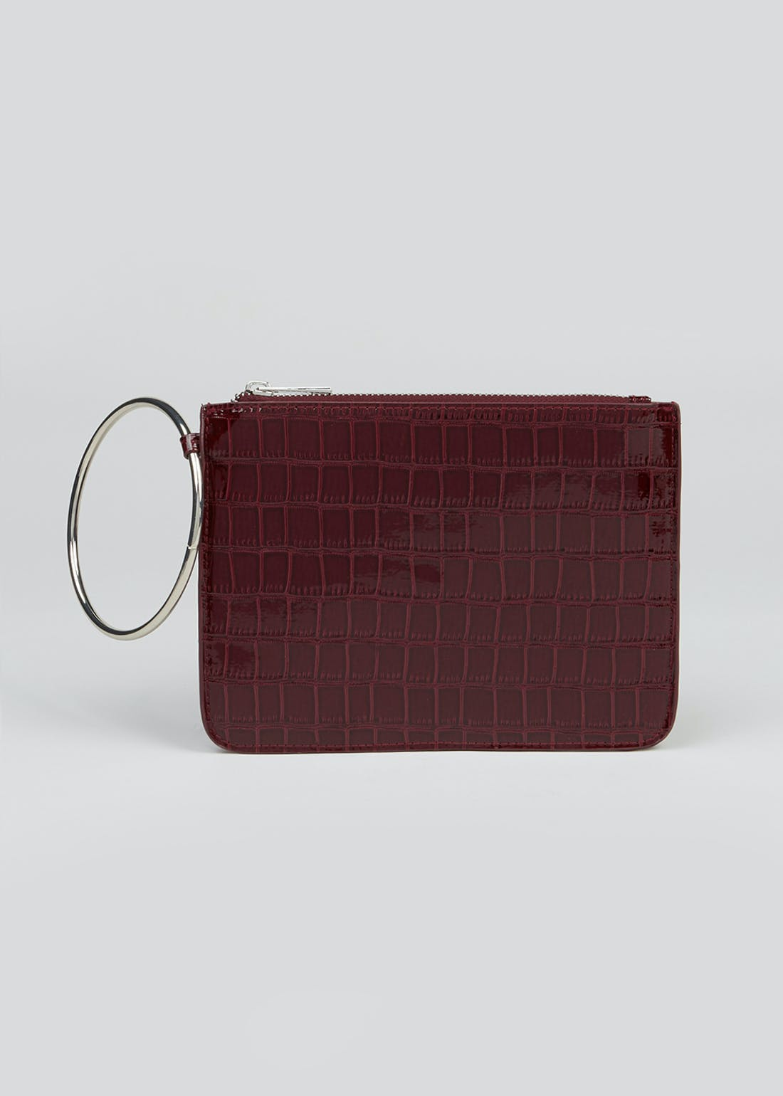 Ring Handle Patent Clutch Bag