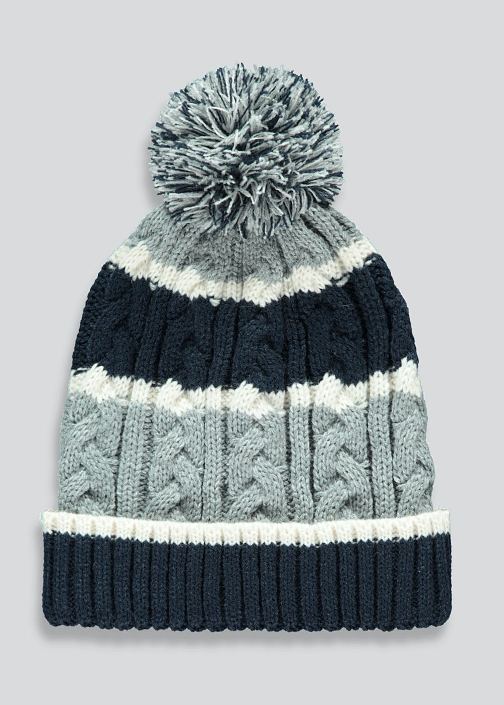 Boys Stripe Cable Knit Bobble Hat (7-13yrs) – Navy